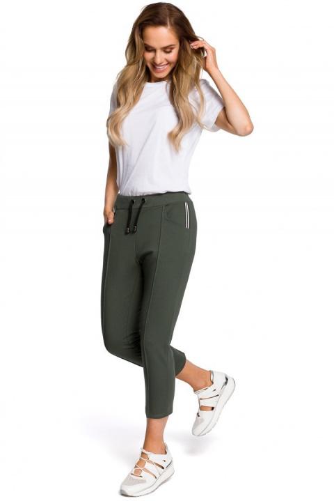 Spodnie bawełniane długości 78 zielone me411